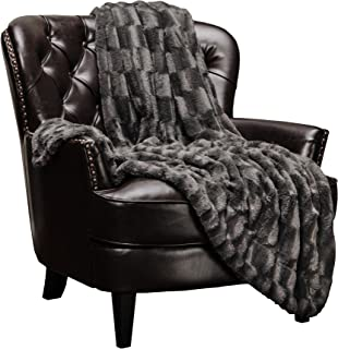Chanasya Super Soft Fuzzy Faux Fur Elegant Rectangular Embossed Throw Blanket | Fluffy Plush Sherpa CozyGrey Microfiber Blanket for Bed Couch Living Room Fall Winter Spring (50x65) - Dark Grey