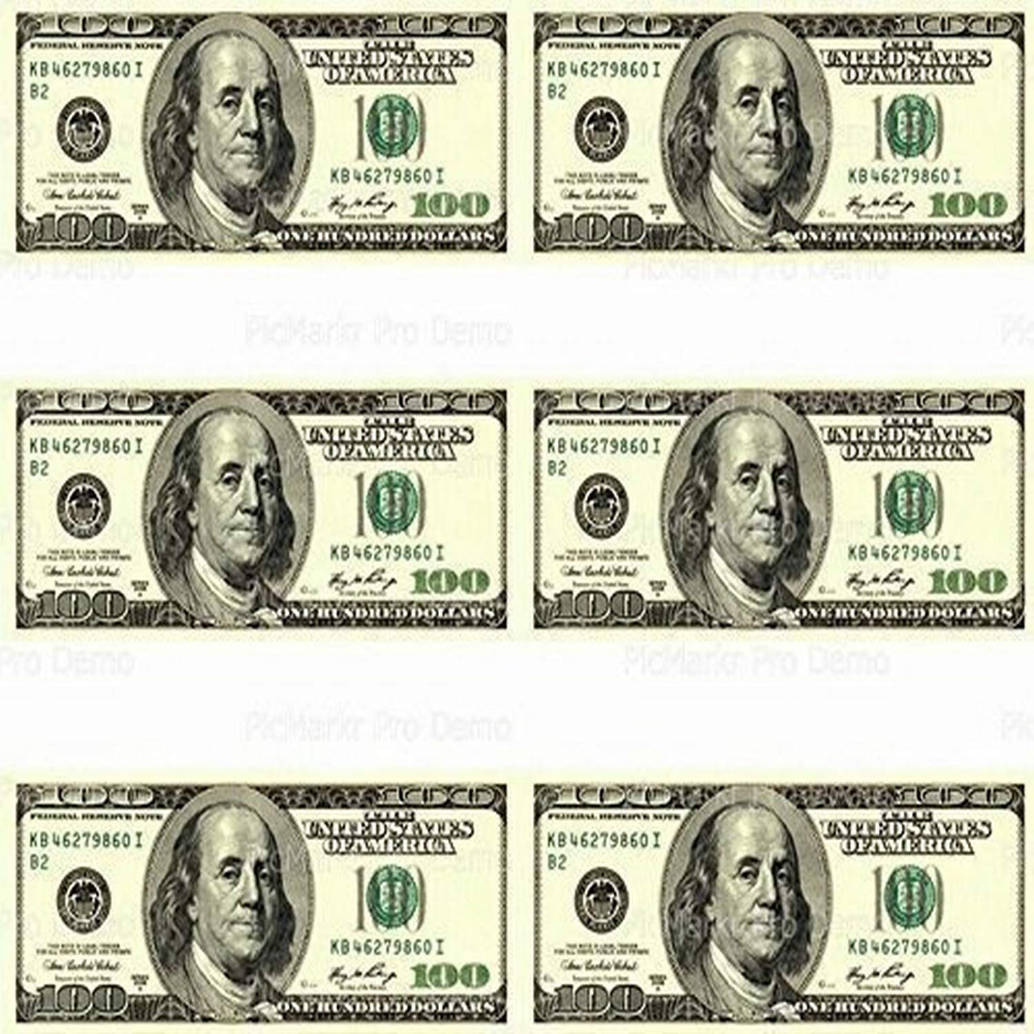 Art of Eric Gunty 100 Dollar Bill - Designer Strips - Edible Cake Side Toppers- Decorate The Sides of Your Cake - D20003