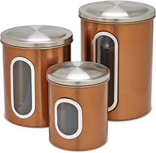 Honey-Can-Do KCH-01026 3pk Metal Storage canisters, Copper Finish,