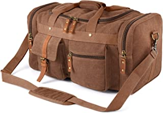 Plambag Oversized Canvas Duffel Bag Overnight Travel Tote Weekender Bag(Coffee)
