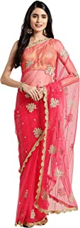 Womanista Women's net with Blouse Piece 7510 Sarees (FS9928_ Pink_ Onesize)