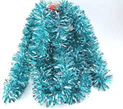 Fix Find Elegant Hanging Holiday Tinsel Garland 3-inches Thick x 10-feet - Aqua & Holo Silver