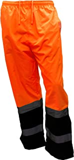 New York Hi-Viz Workwear WP0211 Insulated thermal lined Waterproof Rain Pants Over Trousers (Orange, Medium)