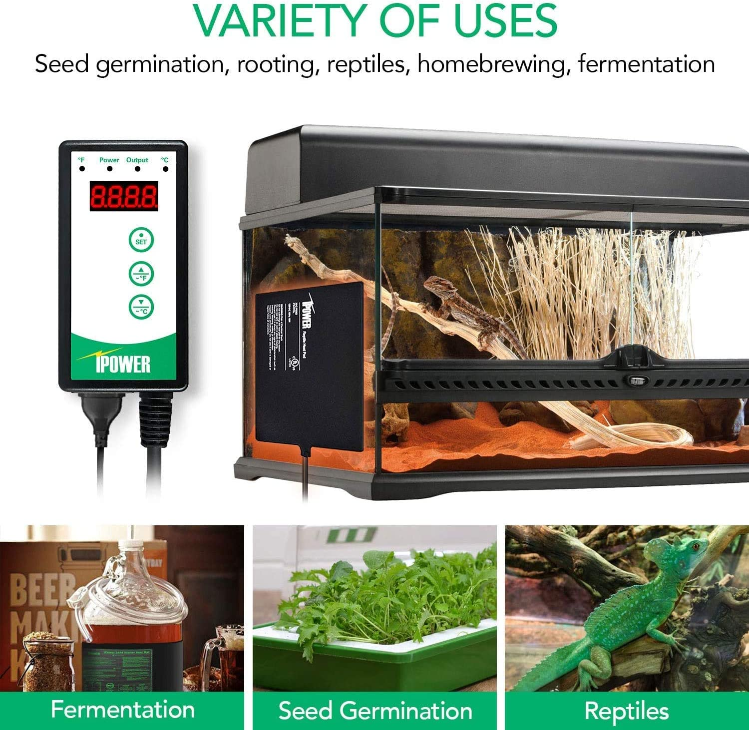 Seed Germination,Black iPower GLHTMTCTRLHTMTSV1 10x20.5 Warm Hydroponic Seedling Heat Mat and Digital Thermostat Control Combo Set 10 x 20.5