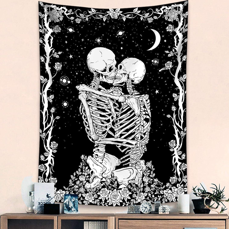 Haibimen Skull Tapestry Wall Hanging, Black and White Tapestry for Bedroom Skulls Kissing Lovers Skeleton Goth Tarot Ouija Dark Wall Decor (36''×48'')