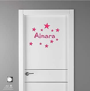 Artstickers Adhesivo Infantil para decoración de Muebles, Puertas, Paredes.Nombre: Ainara, en Color Rosa Nombre de 20cm + Kit de 10 Estrellas para Libre colocación.