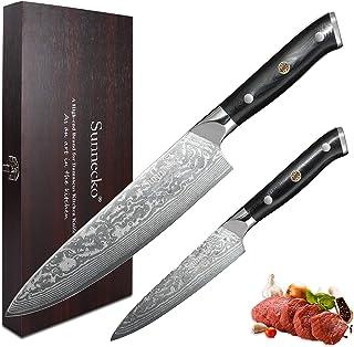 Sunnecko Set Couteau Cuisine Couteaux Damas 2 Pièces- 20cm Couteau de Chef + Couteau Tout Usage Set Couteaux Japonais Lame...