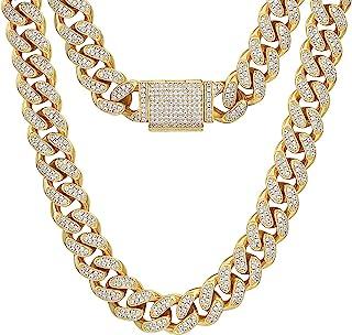 KRKC&CO 12 مم سلسلة متصلة كوبية مثلج للرجال، قلادة كوبية من الذهب عيار 18، خانق كوبي، مجوهرات هيب هوب، أحجار زركون 5A مرصع...