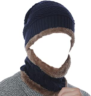 Hycome 2-Pieces Winter Beanie Wool Hat Scarf Set Warm Knit Hat Thick Fleece Lined Winter Hat & Scarf for Men Women Youth