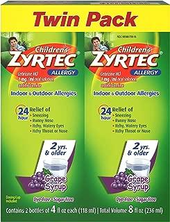 Children's Zyrtec 24 Hr Children's Allergy Syrup with Cetirizine, Sugar-Free Grape, Twin Pack of 4 Fl. Oz, 8 fl. oz.
