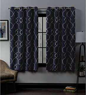 Exclusive Home Curtains Belmont Embroidered Woven Blackout Grommet Top Curtain Panel Pair, 52x63, Peacoat Blue
