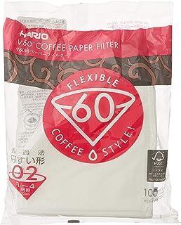 Hario VCF-02-100W Papper Kaffefilter för V60 Droppare, Vit, Paket med 100