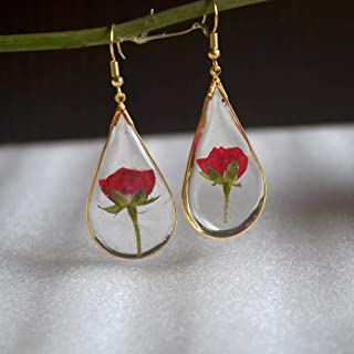 Red Rose Real Flowers Waterdrop Resin Gold Plated Drop Earrings