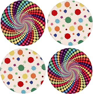 4 Pack Coasters for Drinks, Absorbent Ceramic Stone Coasters with Cork Base,Prevent Furniture From Scratching,Suitable for Kinds of Cups,Perfect Housewarming Gifts,Clearance Price.(Colourful Circles)