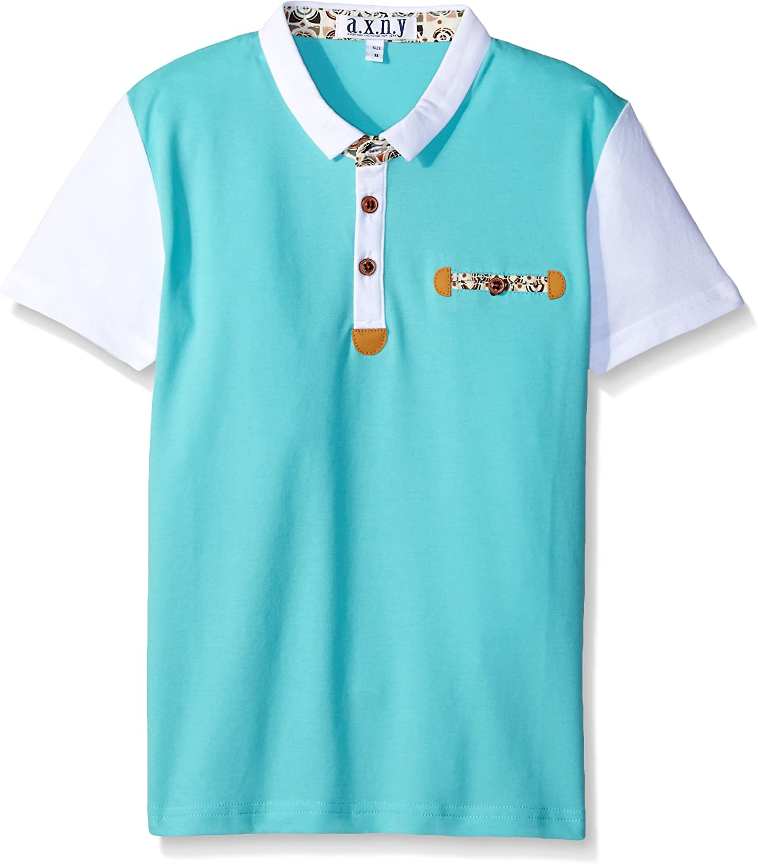 a.x.n.y Boys' Short Sleeve Solid Contrast Polo