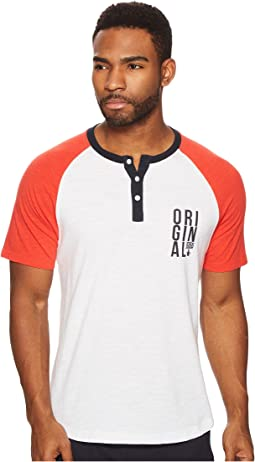 Short Sleeve Color Block w/ Graphic Henley