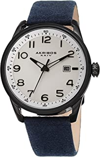 Akribos XXIV Men's Leather Watch AK1029– Casual Suede Designer Wristwatch – Classic Round Analog Quartz