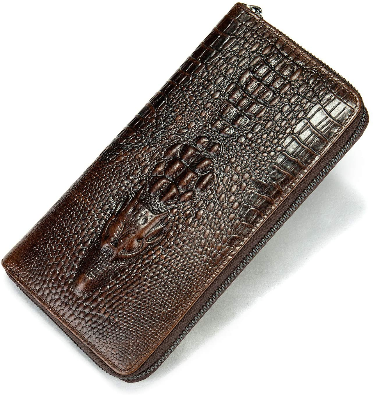 NIUCUNZH Genuine Leather Cool Long Wallets for Men Personalized Zip Around Wallet Checkbook Cash Credit Card Holder Wallet Coffee