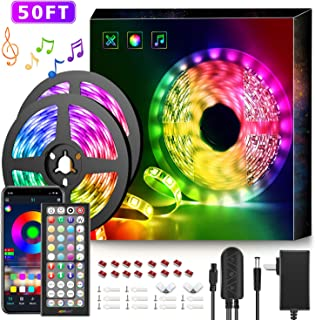 50Ft LED Strip Lights Music Sync Color Changing RGB LED...