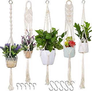 SAND MINE Macrame Plant Hangers, Handmade Cotton Rope Hanging Planter Basket, Hanging Plant Flower Pots Holder Stand for I...