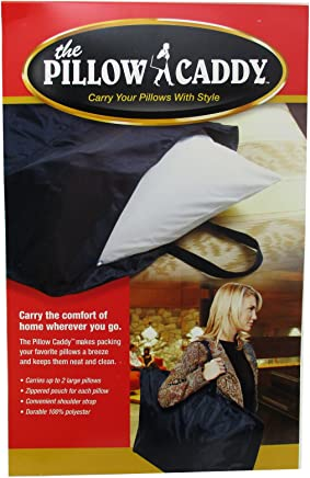 Travel Double Pillow Caddy Black Carrying Case Cushion Holder Shoulder Strap