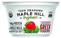 Maple Hill Creamery 100% Grass Fed Organic Greek Yogurt, Strawberry, 5.3 oz