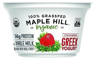 Maple Hill Creamery, 100% Grass Fed Organic Greek Yogurt, Strawberry, 5.3 oz