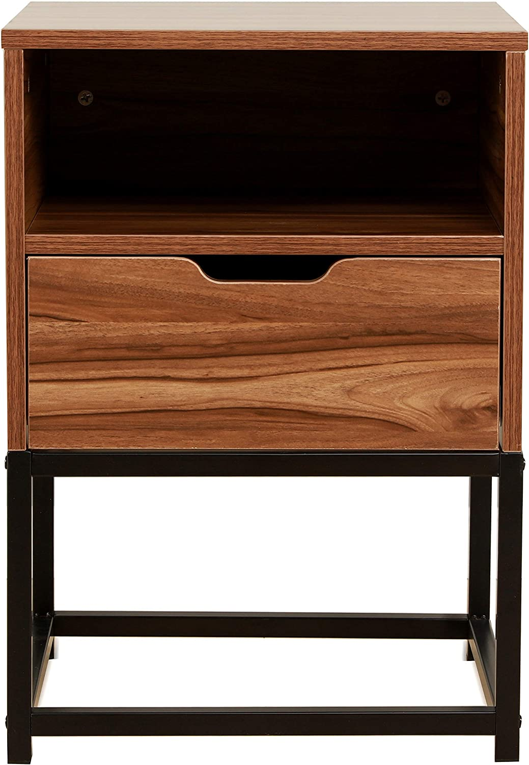 Cherry Tree Furniture CLIVE Mid-Century Style Walnut Colour Bedside Table Nightstand End Table With Black Metal Frame (BC-01)