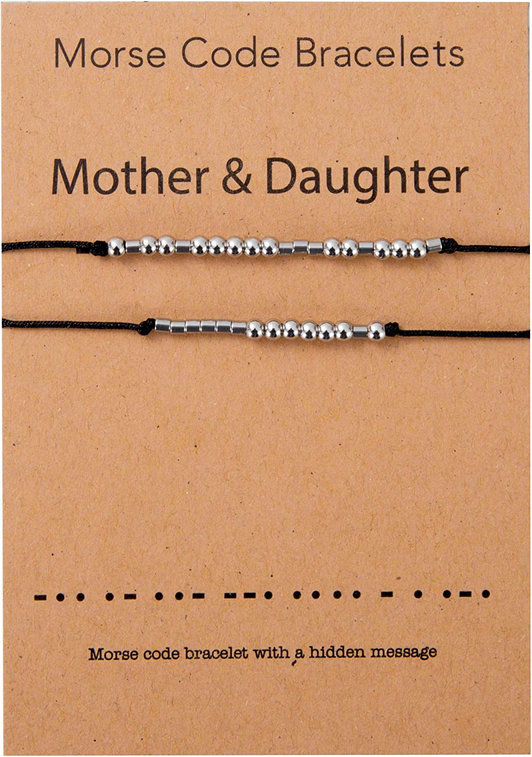 Mother Daughter Morse Code Bracelet Matching Jewelry Gift Set for 2 Handmade Stainless Steel Beads on Silk Cord …