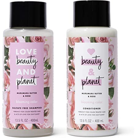 Love Beauty and Planet Shampoo & Conditioner for Color-Treated Hair Murumuru Butter & Rose Shampoo and Conditioner Silicone Free, Paraben Free and Vegan 13.5 oz 2 Count