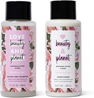 Love Beauty and Planet Shampoo & Conditioner for Color-Treated Hair Murumuru Butter & Rose Shampoo and Conditioner Silicon...
