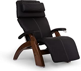 "Perfect Chair ""PC-420"" Top Grain Leather Hand-Crafted Zero-Gravity Walnut Manual Recliner, Black"