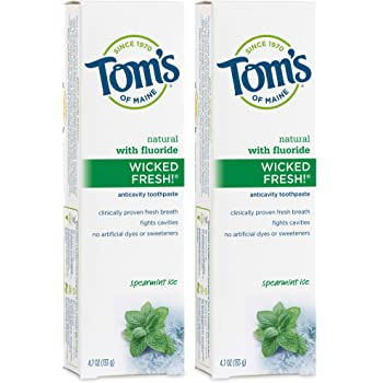 Tom's of Maine Wicked Fresh, Fluoride Toothpaste, Natural Toothpaste, Toms Toothpaste, Spearmint, 4.7 Ounce, 2 Pack (683373)