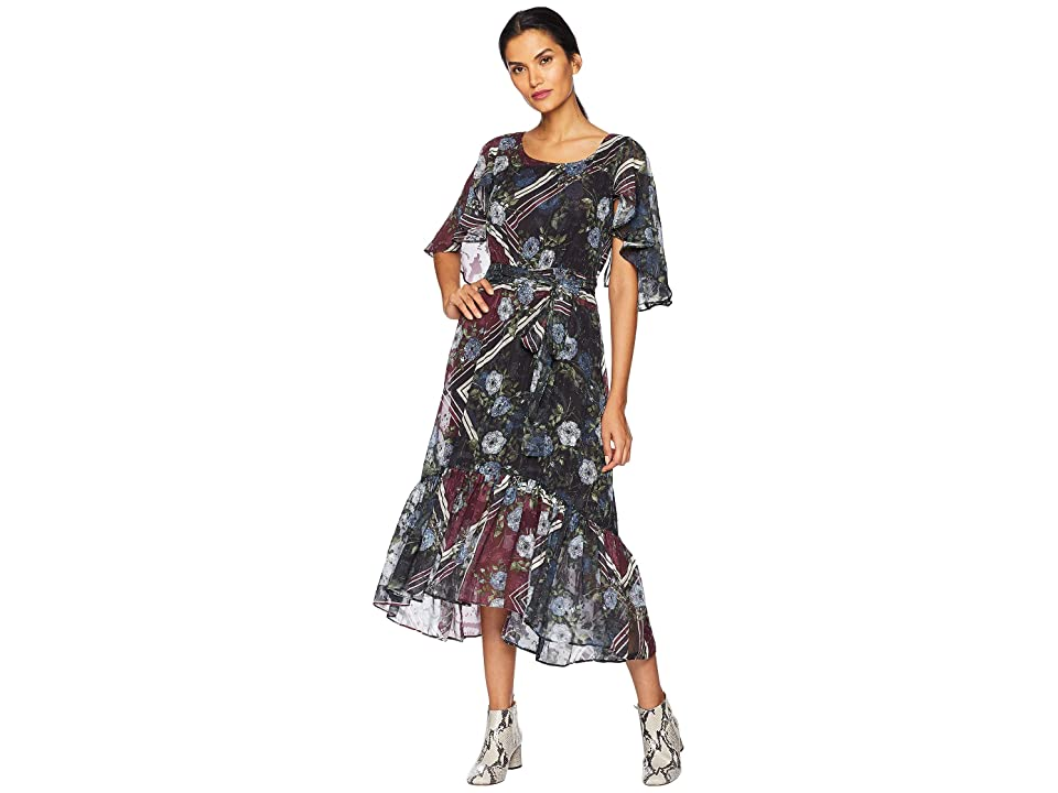 Taylor Printed Chiffon Maxi Dress (Burgundy Multi) Women