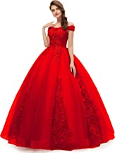OkayBridal Women's Okaybrial Quinceanera Dress Blush Off Shoulder Lace Long Prom Ball Gown