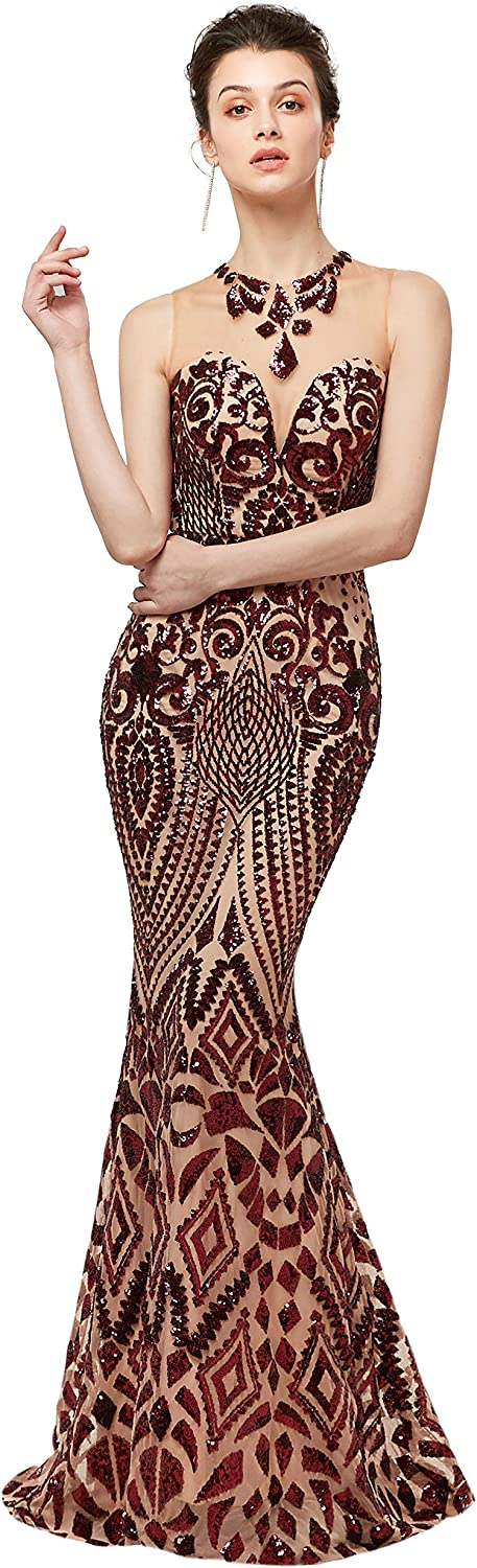 Adonis Pigou Sequins Mermaid Evening Gowns Formal Prom Party Gown Dress Long 2019
