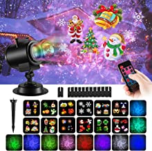 COMLIFE Christmas Decoration Projector Lights with 12 Slides 10 Colors for Holidays, 2 in 1 Decorative Water Wave Light Waterproof Outdoor Indoor Landscape Lights for Xmas Wedding Birthday Party