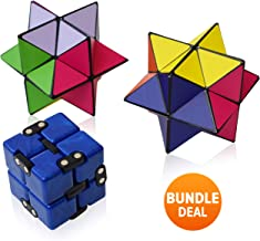 Infinity Cube Fidget Desk Toy and Magic Star Cube Bundle Sensory Fidgeting Game for Kids and Adults, Cool Mini Gadget Best for Stress Anxiety Relief