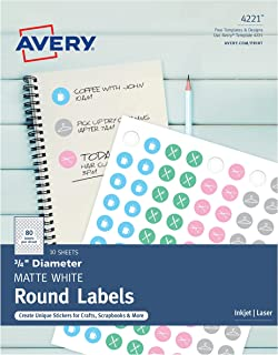 "Avery Matte Print-to-the-Edge Round Labels with Sure Feed, 3/4"" Diameter, Pack of 800 (4221)"