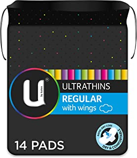 U by Kotex Ultrathin Pads Regular with Wings, Pack of 14
