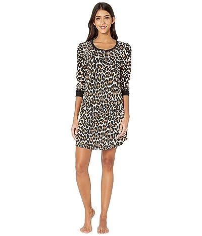 Kate Spade New York Brushed Jersey Long Sleeve Sleepshirt (Cheetah) Women