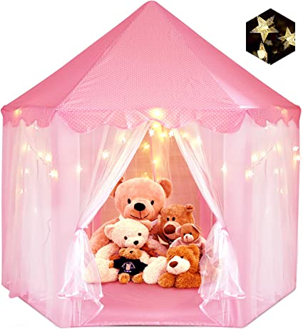 Kids Toys Princess Play Tent Girls Gifts Pink Portable Play Tent for 1-8 Years