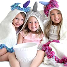 Born To Unicorn Majestic & Wearable Hooded Unicorn Throw Blanket with Horn & Fringe | Child Sizes | Hypoallergenic & Machine-Washable | Kids (40'' x 36'', Pink/Purple Fringe, Purple Horn)