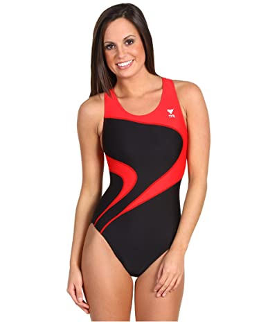 TYR Alliance T-Splice Maxback (Black/Red) Women