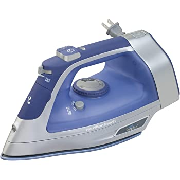 Hamilton Beach Steam Iron & Vertical Steamer for Clothes with Scratch-Resistant Durathon Soleplate, 1500 Watts, Retractable Cord, 3-Way Auto Shutoff, Anti-Drip, Self-Cleaning, Blue (19803)