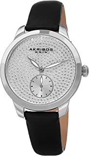 Akribos Glitter Dots Women's Watch - Sub-Second Subdials Smooth Leather Strap - AK1089