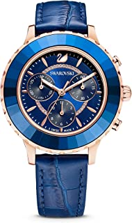 Women's Women's Octea Lux Chronograph Rose Gold Quartz with Leather Strap Crystal Watch Collection