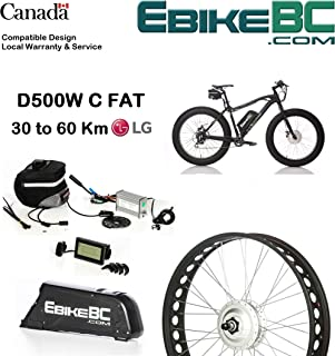 Street Legal Fat Ebike KIT 500/800W Electric Bicycle E Bike Complete Conversion Kit Front Hub Motor, Battery Li-Ion 25MPH LCD 26x4in Snow or Beach tire Rim (Bike or tire not Included)