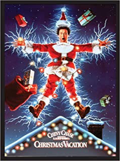 Christmas Vacation Chevy Chase Movie Poster 22x34. Framed on a Black Frame. Made in USA.