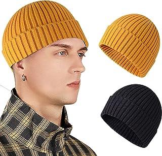 WAWAFUN Wool Short Fisherman Beanie for Men Women, Trawler Beanie Watch Hat Roll up Edge Fisherman Hat Unisex